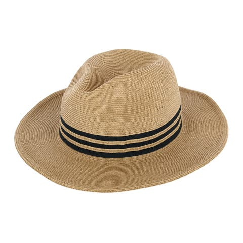 Sun N Sand Women's Striped Packable Panama Fedora Hat
