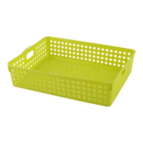 Office Plastic Books Document Classification Storage Organizer Basket Green