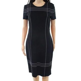 St.John NEW Black Womens Size 4 Contrast-Seam Knit Sheath Dress Wool