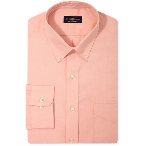 Club Room Mens Wrinkle Resistant Ls Button Up Dress Shirt