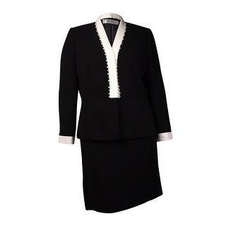 Tahari Women's Pearl Embellished Contrast Trim Skirt Suit - 6P