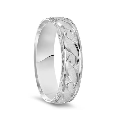 14k White Gold Satin Finished Ring with Polished Grooved Pattern & Beveled Edges - 6mm