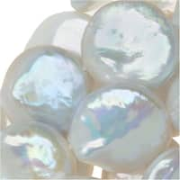 Freshwater Cultured Pearls, Coin Shaped Beads 14mm, 15.5 Inch Strand, Iridescent White