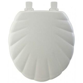 Mayfair 22EC-000 Round Molded Wood Toilet Seat w/ Chrome Hinge, White, Shell