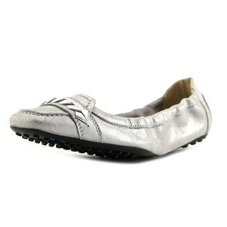 Tod's Deg Ball. Masch Ricamo Infilatura Women Square Toe Leather Silver Loafer