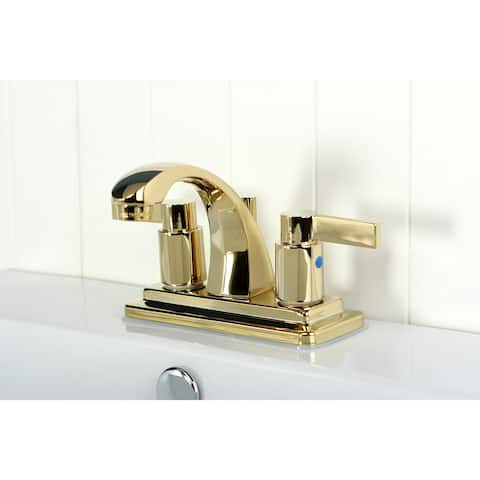 NuvoFusion Two-Handle 3-Hole Deck Mount 4 in. Centerset Bathroom Faucet in Polished Brass
