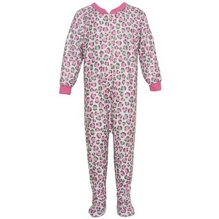 Mon Petit Little Girls Gray Pink Leopard Print Overall Footed Pajama