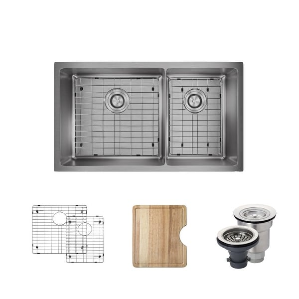 "Rene R1-1037L 31-1/8"" Double Basin Stainless Steel Kitchen Sink - Basin Rack, Basket Strainer, and Cutting Board Included"