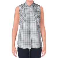 supply & demand Womens Button-Down Top Check Print Sleeveless