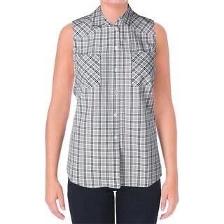 supply & demand Womens Button-Down Top Check Print Sleeveless