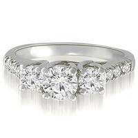 0.95 cttw. 14K White Gold Trellis Round Diamond Three-Stone Engagement Ring