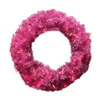 "36"" Pre-Lit Orchid Pink Cedar Pine Artificial Christmas Wreath - Pink Lights"