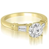 1.00 cttw. 14K Yellow Gold Round Baguette Three Stone Diamond Engagement Ring