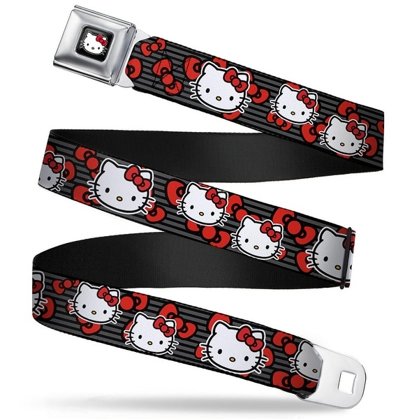 Hello Kitty W Red Bow Full Color Black Hello Kitty Multi Face W Horizontal Seatbelt Belt