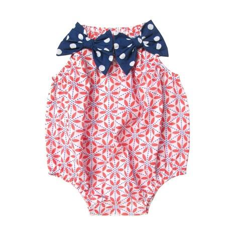 Sophie Catalou Baby Girls Orange Floral Bow Embellished Bubble Bodysuit