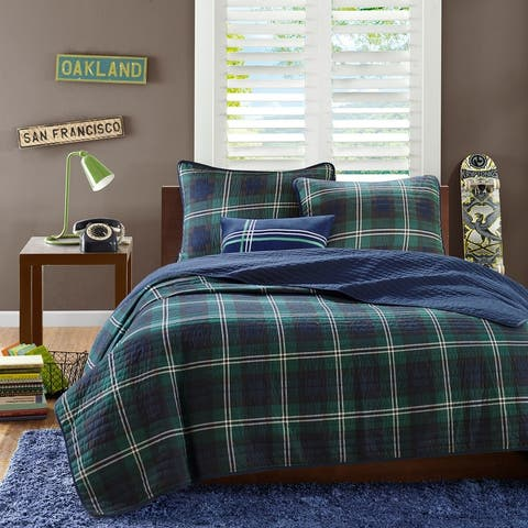 Cameron Blue Reversible Coverlet Set by Mi Zone