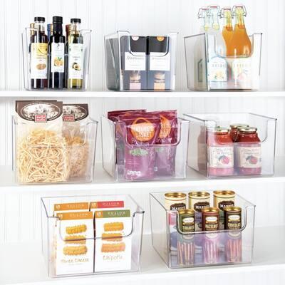 "mDesign Plastic Food Storage Organizer Bin for Kitchen, 8"" Wide, 6 Pack - Clear - 10 X 8"