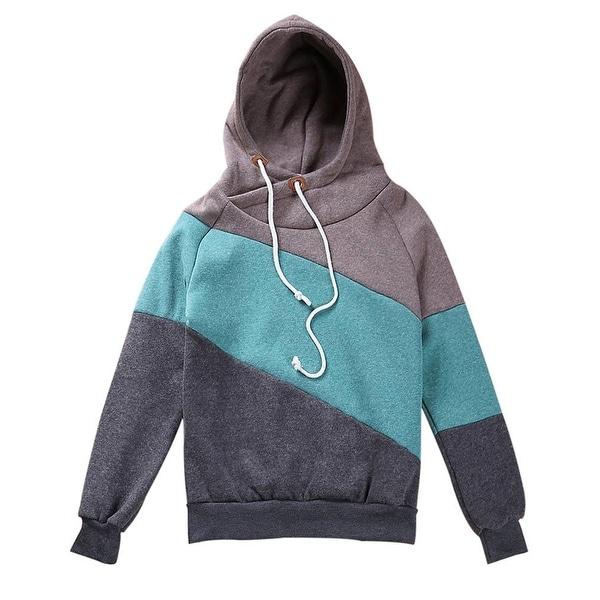 QZUnique Women's Long Sleeve Pullover High Collar Hooded Fleece Sweatshirt