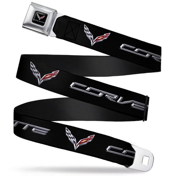 C7 Full Color Black Corvette C7 Logo Black Silver Red Webbing Seatbelt Belt Seatbelt Belt