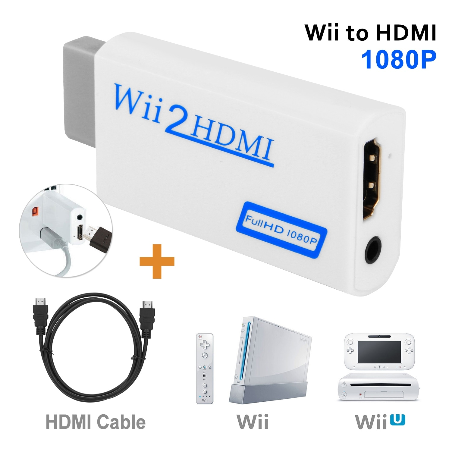 AGPtek Wii To HDMI 720P 1080P Converter Adapter Full HD Video + HDMI Cable 1.5M -  Overstock
