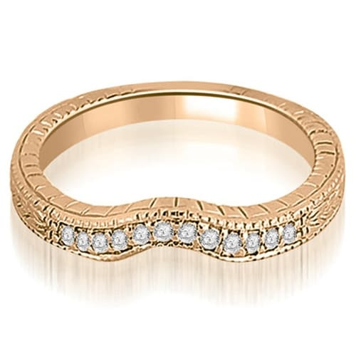 0.15 cttw. 14K Rose Gold Antique Cathedral Round Curve Diamond Wedding Band