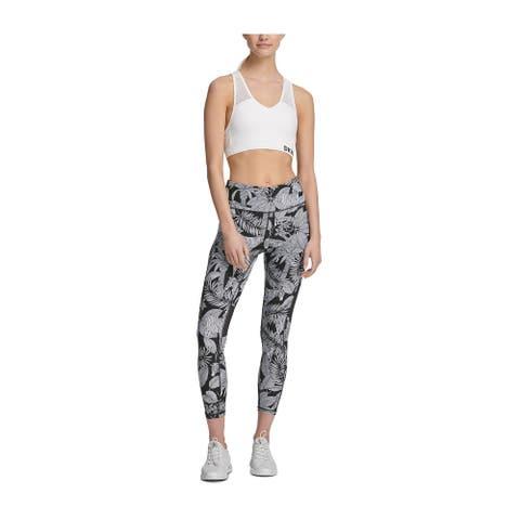 DKNY Women's Sport Zebra-Print High-Waist Cropped Leggings, Black, L