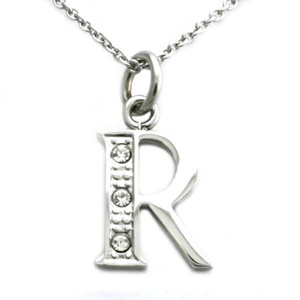 Stainless Steel Alphabet Initial Pendant w/ CZ Stones - Letter R - 18 inches
