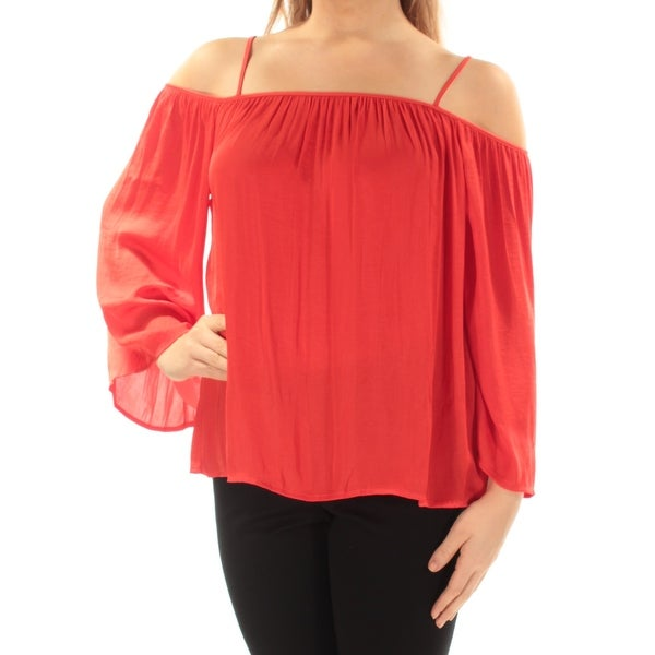 f7cbbf09a3015 Shop VINCE CAMUTO Womens Red Cold Shoulder Kimono Sleeve Square Neck Top  Size  M - Free Shipping On Orders Over  45 - Overstock - 21511697