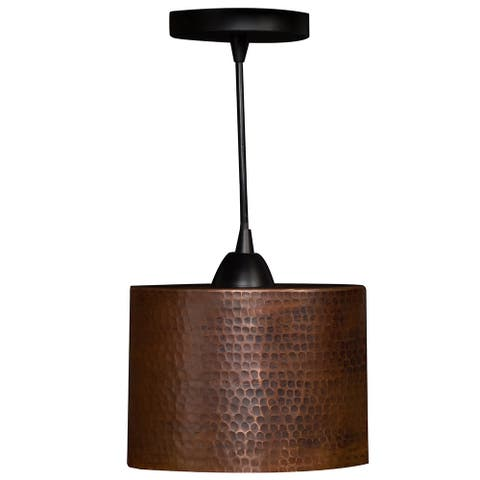 Premier Copper Products L800DB Hammered Copper 8-inch Oval Cylinder Pendant Light