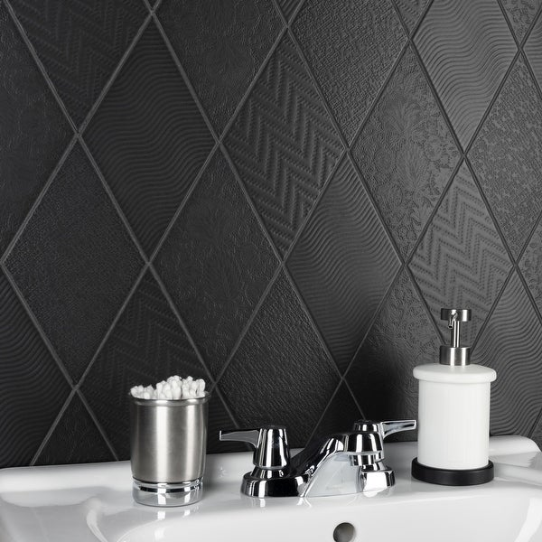 """SomerTile Rhombus Black 5.5"""" x 9.5"""" Porcelain Floor and Wall Tile. Opens flyout."""