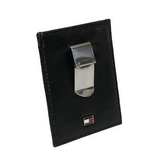 Tommy Hilfiger Men's Leather Slim Front Pocket Wallet - Black - One Size
