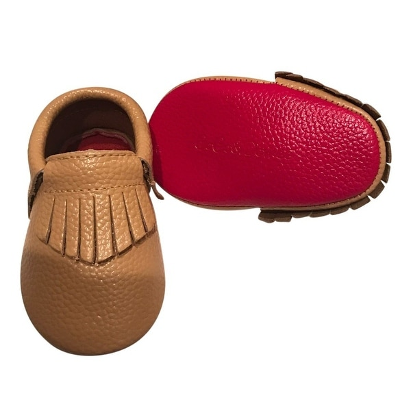 Baby Girls Camel Red Soft Sole Faux Leather Tassel Moccasin Crib Shoes 3-18M