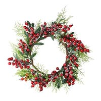 Frosted Green Leaves and Red Berries Artificial Christmas Wreath - 18-Inch, Unlit