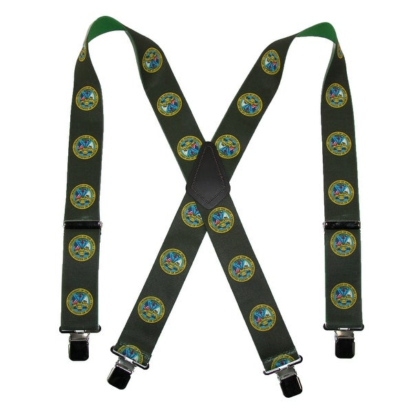 CTM® Men's Elastic U.S. Army Clip End Suspenders (Tall Available), Green