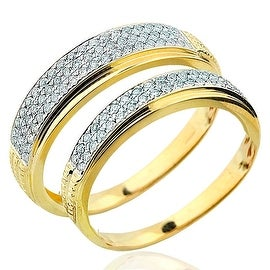His and Her Ring Set Duo Set 10K Yellow Gold 0.50ctw Diamond Wedding Bands (i2/i3, I/j) By MidwestJewellery - White