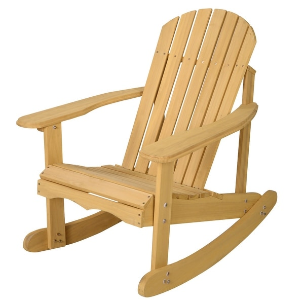 Shop Costway Outdoor Natural Fir Wood Adirondack Rocking Chair Patio on