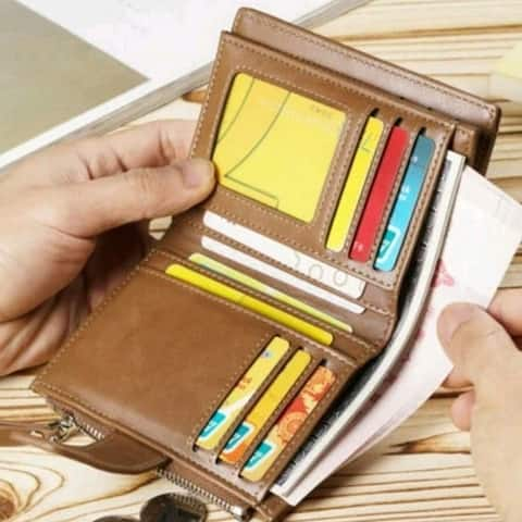 Men Pu Leather Business Soft Wallet Coins Pocket Credit Card Holder Purse With Zip