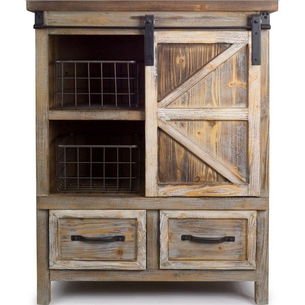 39 5 Country Rustic Wooden Storage Cabinet With Metal Basket