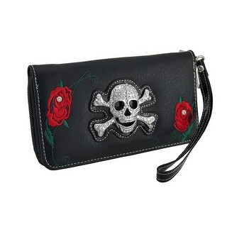 Rhinestone Skull and Red Roses Black Zippered Wristlet Wallet