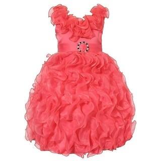 Richie House Little Girls Coral Cascade Ruffle Princess Bridal Dress 3-6