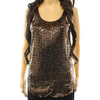 Joe's NEW Gold Black Womens Size Medium M Sequin Embellish Tank Blouse