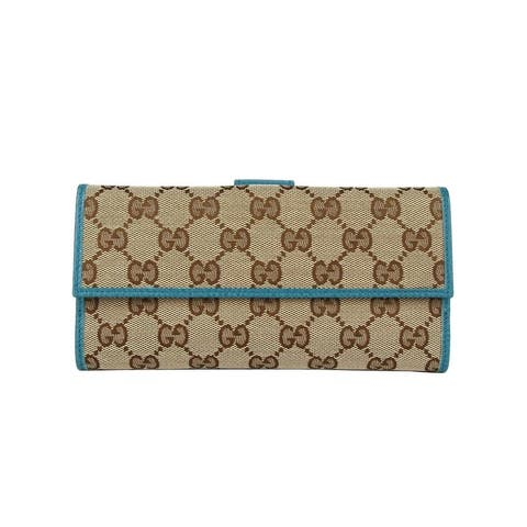 Gucci Women's Beige Original GG Canvas Long Wallet with Cobalt Leather Trim 231841 8616 - One Size