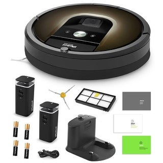 iRobot Roomba 980 Vacuum Cleaning Robot + 2 Dual Mode Virtual Wall Barriers + Extra Side Brush + Extra HEPA Filter + More