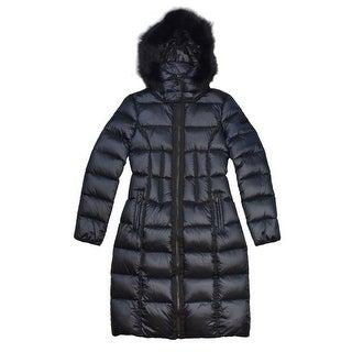 BCBGMaxazria Women's Blue Down Fur Coat
