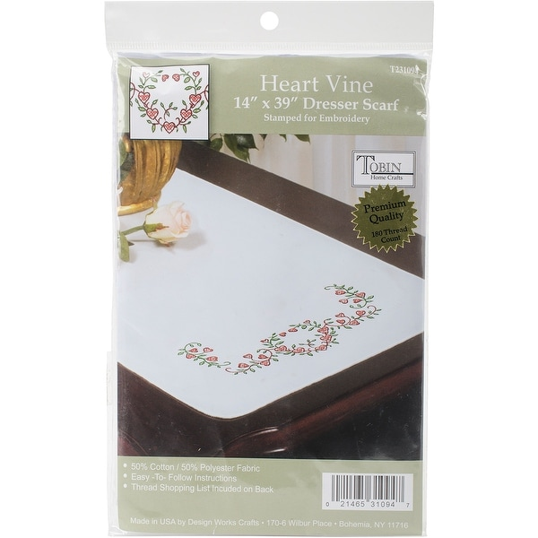 "Stamped White Dresser Scarf For Embroidery 14""X39""-Heart Vine"
