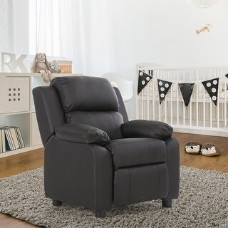 Costway Black Deluxe Padded Kids Sofa Armchair Recliner Headrest Children w Storage Arms