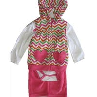 Buster Brown Baby Girls Pink White One Piece Chevron Stripe Vest 3 Pc Pants Set 12-24M