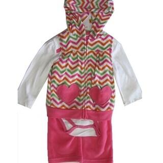 Buster Brown Baby Girls Pink White One Piece Chevron Stripe Vest 3 Pc Pants Set 12-24M