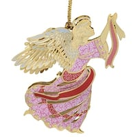 "3.25"" Pink and Red 24K Gold Finish Brilliant Angel Christmas Ornament"