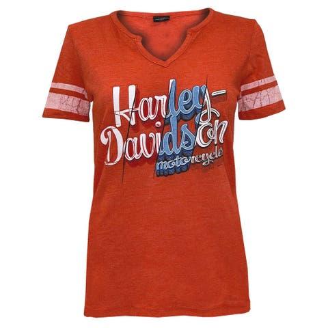 Harley-Davidson Women's Genuine Fury Short Sleeve Notched V-Neck Tee - Orange